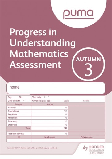 PUMA Test 3, Autumn PK10 (Progress in Understanding Mathematics Assessment)