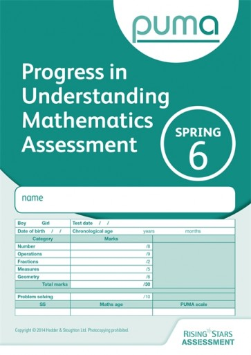 PUMA Test 6, Spring PK10 (Progress in Understanding Mathematics Assessment)