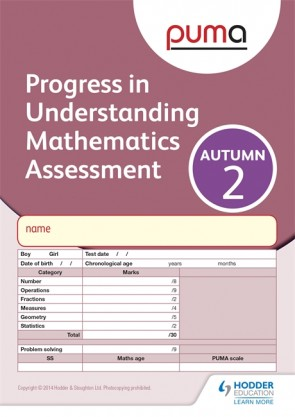 PUMA Test 2, Autumn PK10 (Progress in Understanding Mathematics Assessment)