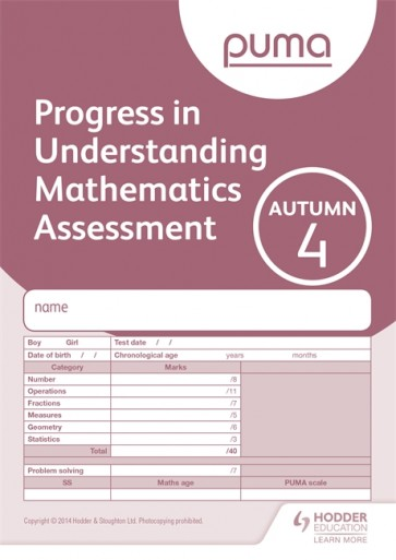 PUMA Test 4, Autumn PK10 (Progress in Understanding Mathematics Assessment)