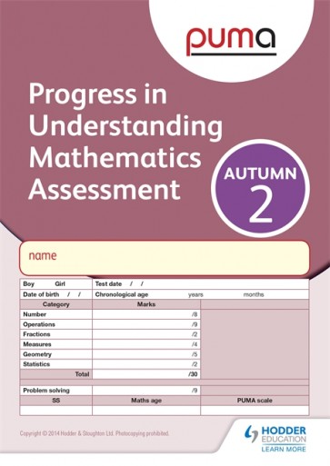 PUMA Test 2, Autumn PK10 (Progress in Understanding Mathematics Assessment)