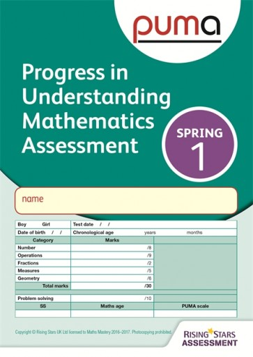 PUMA Test 1, Spring PK10 (Progress in Understanding Mathematics Assessment)